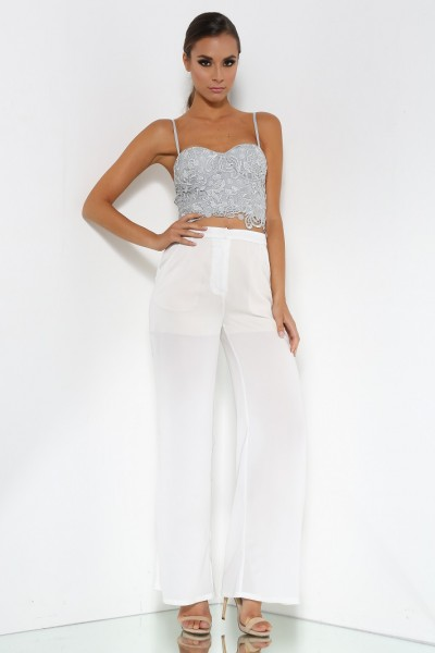 Lilly Silver crop w St Tropez White Pants